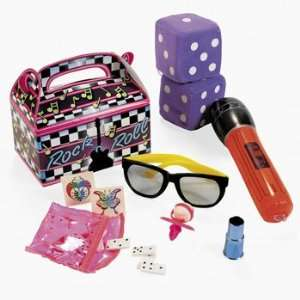 Rock N Roll Filled Treat Box   Party Favor & Goody Bags