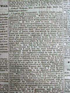 1864 Civil War newspapers NEGRO SOLDIERS   20th NY Colored Regiment
