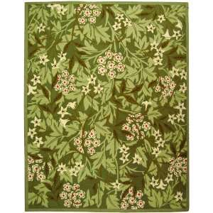 by 9 Feet Hand hookedWool Area Rug, Green and Ivory