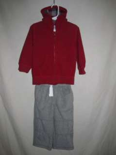 NWT Gymboree Ski Cabin Red Gray Fleece Outfit 2T 3T