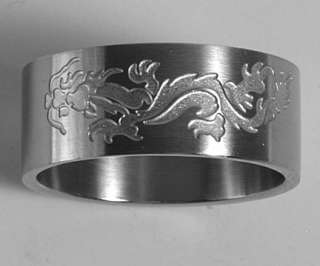 Men Women 316L Stainless Steel Dragon 10mm Rings Bands
