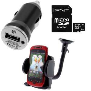 PNY 8GB Micro SDHC Class 10 Memory Card + Car Mount Holder