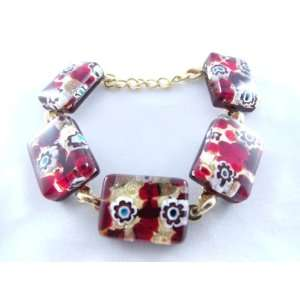 Red Gold Flower Murano Glass Venetian Bracelet Jewelry Jewelry