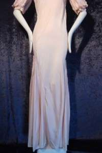 SPECTACULAR DESIGN vintage 1930s bias CUT gown DRESS Full SWEEP pink