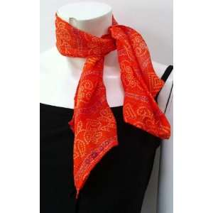 100% Cotton, High Quality, Small Scarf Neck Wear Wrap Chunri Orange