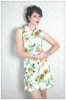 VINTAGE 60s GREEN FUNKY FLORAL Sleeveless SUMMER Retro Hip Shift