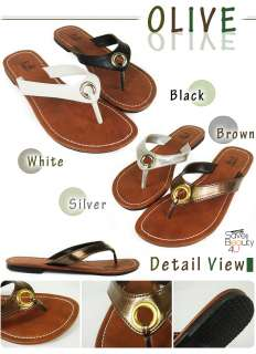 Womens Faux Leather Flip Flops Flats Shoes Open Toes Beach Sandals