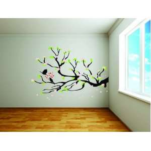 Removable Wall Decals  Bird In Tree with Pink Flower