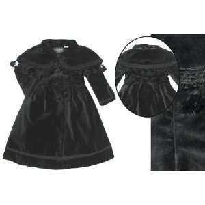 Elebini Toddler Girls Black Velvet Dress Coat and Tassle Bolero