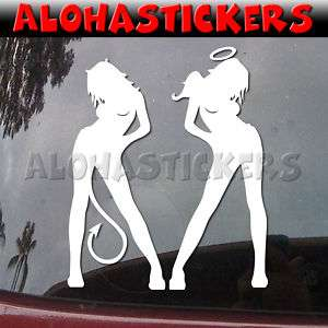 SEXY ANGEL DEVIL GIRL #3 Vinyl Decal Truck Sticker C25