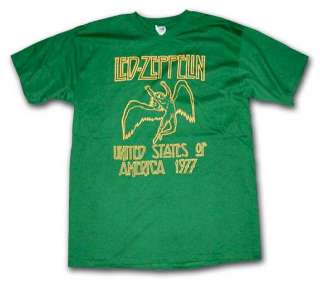 Led Zeppelin 1977 US TOUR SWAN SONG KELLY GREEN T Shirt