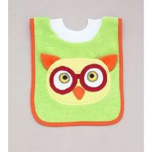 Mullins Square 100% Cotton Pullover Baby Bib with Washcloth   Owl
