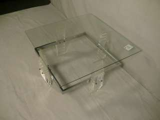 Mid Century Modern Lucite & Chrome Coffee Table (4187)r.