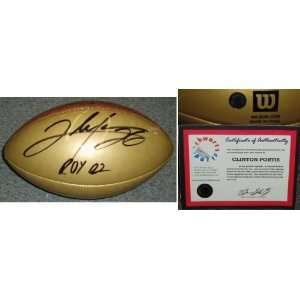 Clinton Portis Signed Wilson Gold Ball w/ROY02 Sports