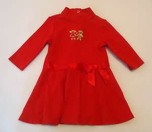 Gymboree Sugar & Spice Baby Girls Red Gingerbread Knit Dress Sz 6 12