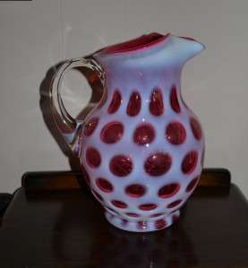 Fenton Cranberry Coin Dot Pitcher Jug, c. 1947