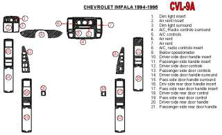 Chevrolet Impala SS 94 95 Interior Dashboard Dash Wood Trim Kit Parts