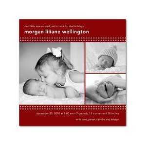 Winter Girl Birth Announcements   Dotted Grid Spanish Red By Magnolia