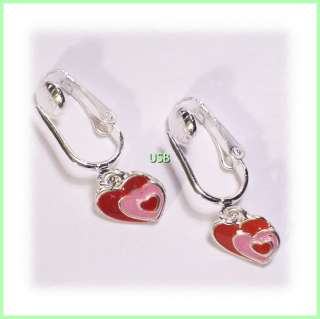 VALENTINE`S DAY MINI HEART CHARM SILVER PL. CLIP ON HOLIDAY EARRINGS