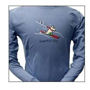 Cotton Long Sleeved T Shirt   Garment Dyed Downhill Dog Long Sleeved