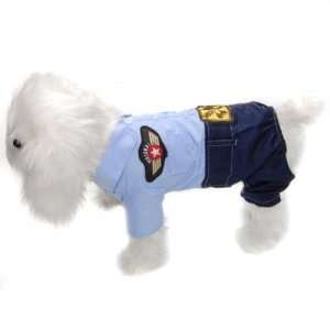 Cool Pet Dog Puppy Coat Clothes Apparel Blue  Uniform S
