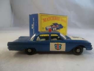 Matchbox Ford Fairlane 55 B 55b Police Cop Car Light Blue Box BPW NR