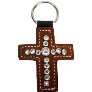 Leather Cross with Crystals Horse Jewelry