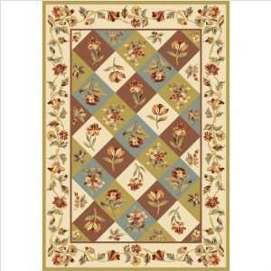 Alexandria Earth Tone Floral Panel Contemporary Rug Size 910 x 132