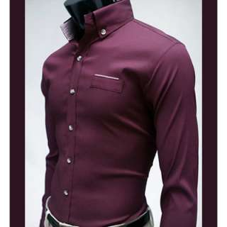 Bros Mens Premium DRESS RED WINE 2 Button Shirts SZ S,M,L no.19