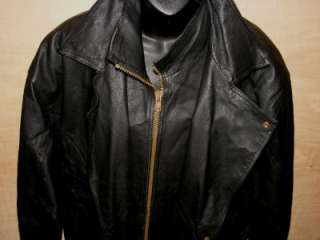 ITALIAN LEATHER Jacket Coat MILAN ITALY Heavy Duty Black XL W/Faux Fur