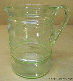 Vintage Green Depression Glass Water Pitcher Macbeth Evans Deco Etched