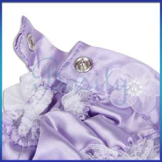 Pet Dog Wedding Dress Apparel Clothes Satin   Purple S