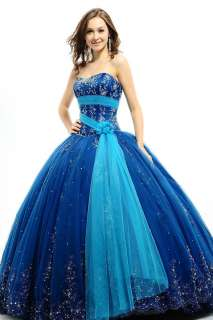 Quinceanera Sash Applique Dress Bridal Wedding Evening Ball Gown Prom