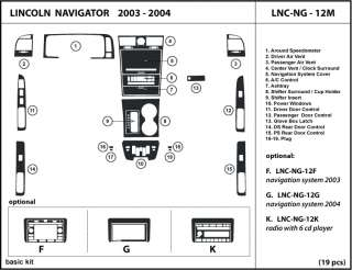 Lincoln Navigator 03 04 2003 2004 Dash Kit Trim Detailing Dashboard