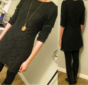 J185 WOMEN ONE PIECE LACE DRESS BLACK LONG SLEEVES NWT