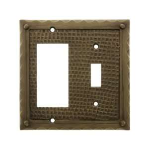 Bungalow Style Toggle / GFI Combination Switch Plate In Antique Brass