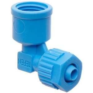 Tube Fitting, 90 Degree Elbow Adapter, Blue, 8 mm Tube OD x 1/4 BSPT