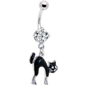 Crystalline Gem Classic Black Cat Dangle Belly Ring