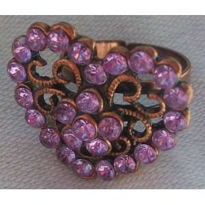 Purple and Bronze Heart Shaped Crystal Stone Fashion Costume Ring