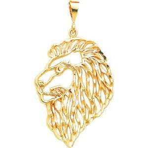 10K Yellow Gold Lion Head Charm Diamond Cut Jewelry