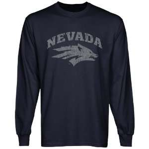 Nevada Wolf Pack Distressed Primary Long Sleeve T Shirt