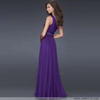 sexy lady Cocktail Evening Party Prom one shoulder Long Dress Gown top