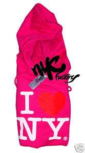 NEW I LOVE NY HOT PINK HOODIE SWEATSHIRT HOODY S,M,L,XL