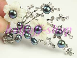 BEAUTIFUL FRESHWATER PEARL SHELL FLOWER BROOCH