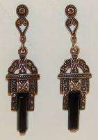 Art Deco Sterling Silver Onyx & Marcasite Dangle Earrings