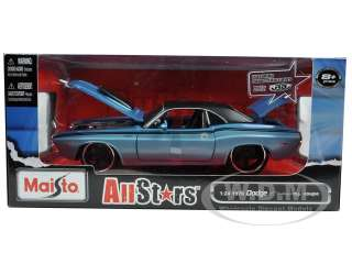 car model of 1970 dodge challenger r t coupe blue by maisto brand