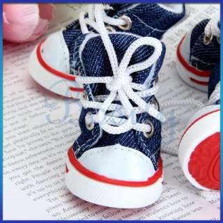 Denim Blue Canvas Pet Dog Boots Sports Shoelace Shoes Booties Sneakers