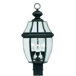 Three Light Traditionally Styled Outdoor Post Lantern, Matte Black