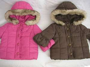 Juicy Couture Baby Quilted Coat with Fur Round Hood Pink or Brown NEW