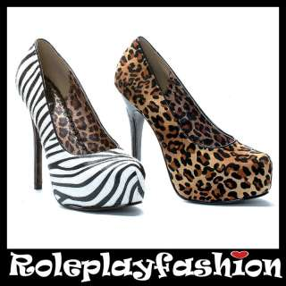 ELLIE SHOES BETTIE PAGE SEXY PLATFORM ANIMAL PRINT PUMPS HEELS